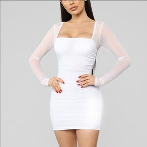 Brand new with tags white ruched dress w mesh arms